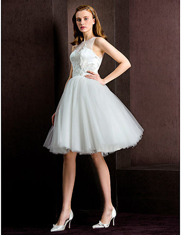 Ball Gown Jewel Tea-length Tulle Wedding Dress (783925)