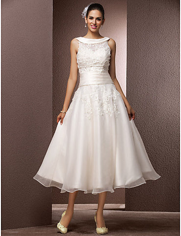 Wedding Dress A Line Tea Length Organza Sweetheart Bateau With Sashes and Appliques
