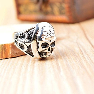 Roman Style Men's Cast Metal Skull Stainless Steel Ring