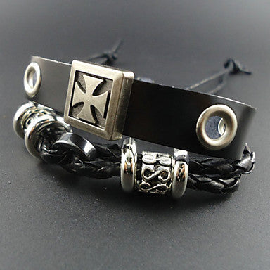 European 17Cm Men's Black Leather Bracelet(Black)(1 Pc)