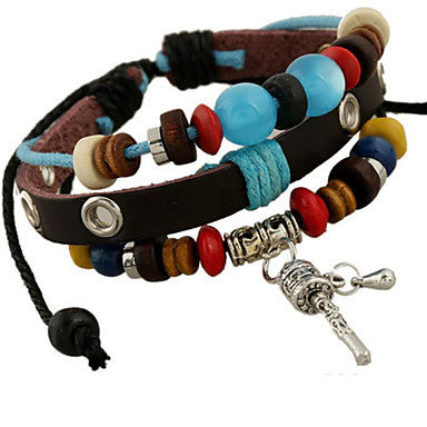 Classic Archaistic 20cm Men's Black Leather Strand Bracelet()(1 Pc)
