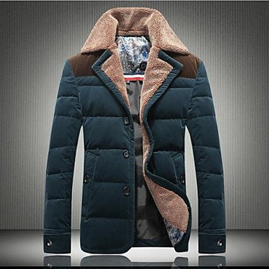 Men's Lamb Wool Lapel High-Grade Day Velvet Large Code 90% White Down Jacket