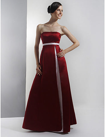 Bridesmaid Dress Floor Length Satin A Line Strapless Empire Party Dress