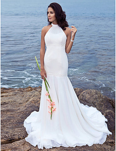 Trumpet/Mermaid Halter Sweep/Brush Train Chiffon Wedding Dress