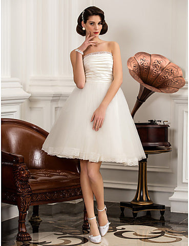A-line Princess Strapless Knee-length Tulle And Satin Wedding Dress (783921)