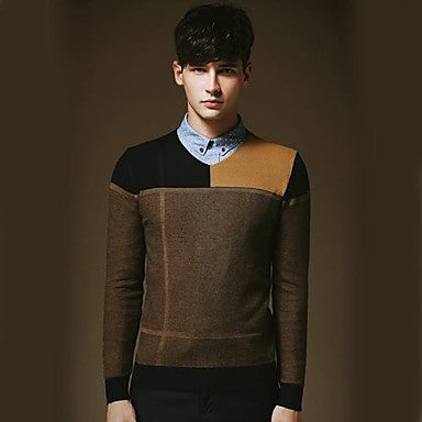 Men's Leisure V-neck Sweater Splicing Sweater