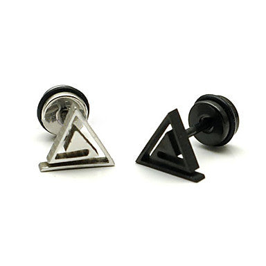 Fashion (Triangle Shape) Multicolor Titanium Steel Stud Earrings(Black,Silver) (1 Pc)