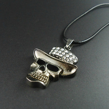 Fashion Skull Black Leather Pendant Necklace (1 Pc)