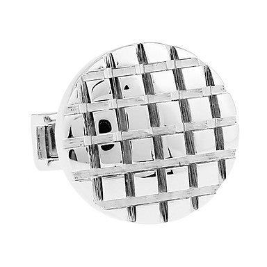 Men's Alloy Round Striped Silver Cufflink(1 pair)