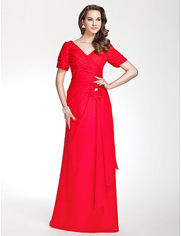 Bridesmaid Dress Floor Length Chiffon V Neck Sheath Column Dress With Side Draping