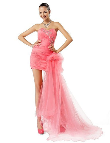 Sheath/Column Sweetheart Short/Mini Tulle Evening/Prom Dress