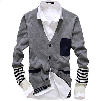 Men's Korean Fashion Slim V-Neck Fight Color Striped Knit Cardigan