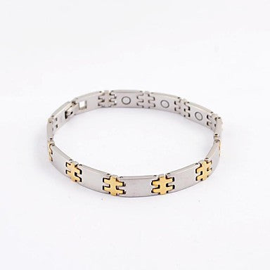 Fashion Men's Jigsaw Health Magnet Titanium Steel Tennis Bracelet