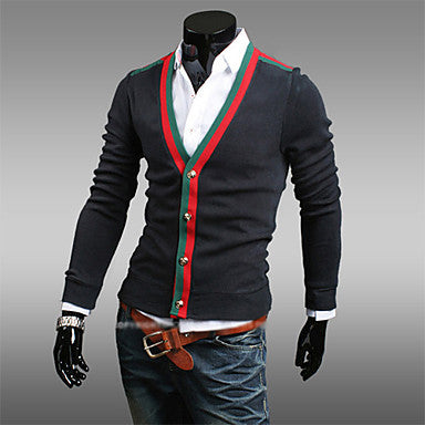 Men's v-neck contrast color cardigan fasion outwear