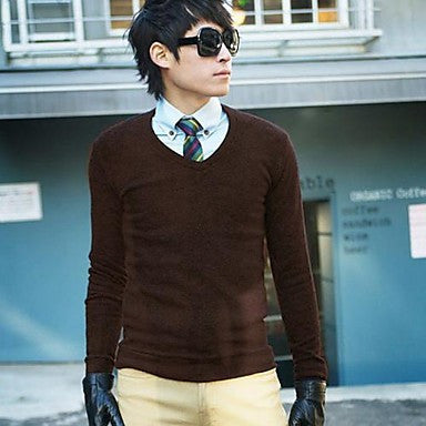Men's Round Collar Solid Color Long Sleeve Sweater Shirt
