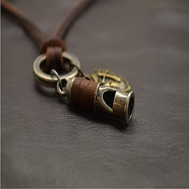 Fashion Retro Punk Hip Hop Brown Leather Alloy Pendant Necklace(1 Pc)