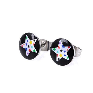 Fashion Mix Colors Star Stainless Steel Stud Earrings