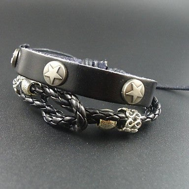 New Trendy Punk Star Charms Men Genuine Leather Bracelet