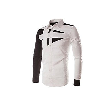Mens casual Slim Fit Plain Solid Long Sleeve Shirts