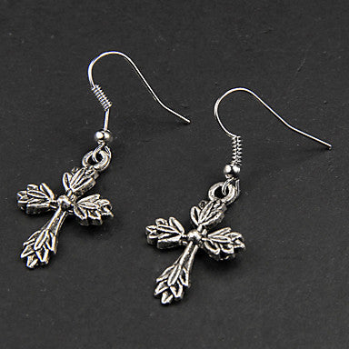 Punk Leaf Cross Silver Alloy Earrings(1 Pair)