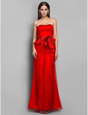 Sheath/Column Strapless Tulle Evening/Prom Dress