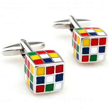 Fashion 1.8cm Men's Silver Copper Cube Cufflinks (Silver)(1 pair)