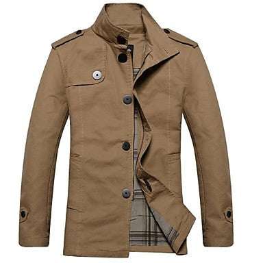 Men's Fashion Casual Stand Collar Long Sleeve Loose Jacket