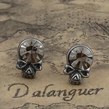 Men's Rhinestone Skull Stud Earrings