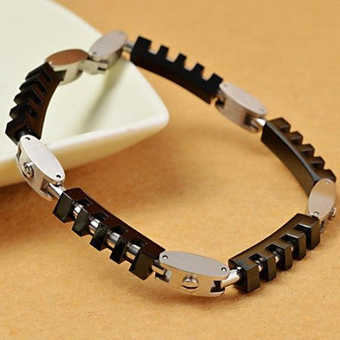 Fashion 22cm Men's Geometric Shape 316L Stainless Steel Tennis Bracelet