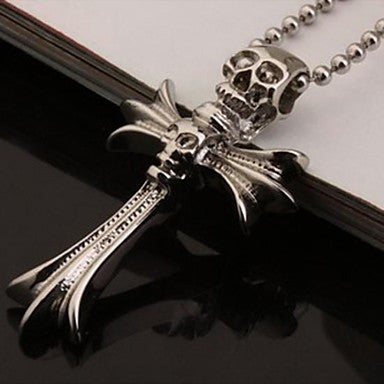 Men¡¯s Fashion Personality Titanium Steel Skeleton Model Cross Pendant Necklaces