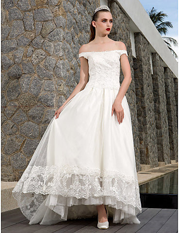 A-line Off-the-shoulder Asymmetrical Tulle And Lace Wedding Dress
