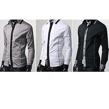 Men's Shirt Collar Korean Version Casual Pure Color Long Sleeve Shirt