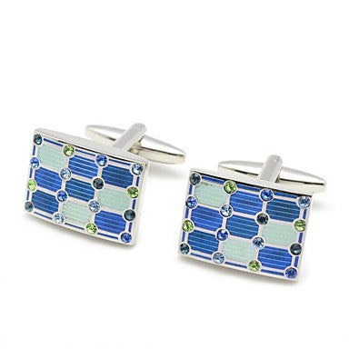 Men's Wedding Gift Party Groom Suits Shirt Square Cufflinks with Copper and Rhinestone