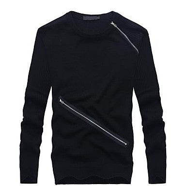 Men's Round Collar Personality Zipper Long Sleeve Sweater