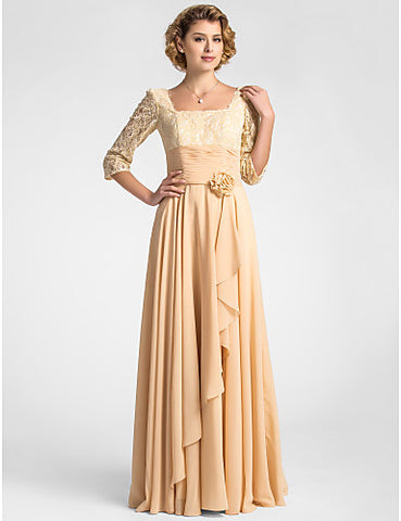 A-line Square Floor-length Lace And Chiffon Mother of the Bride Dress