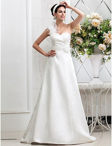 A-line One Shoulder Sweep/Brush Train Satin Wedding Dress With Flower(s)(604642)