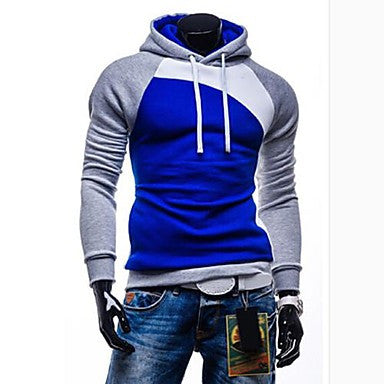 Men's Slim Hooded Contrast Color Sweatshirt