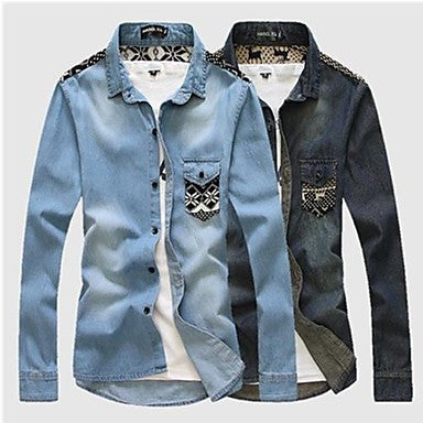 Men's Wash Casual Long Denim Shirt