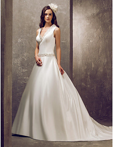 A-line Princess V-neck Sweep/Brush Train Satin Wedding Dress (699603)