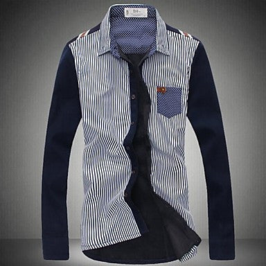 Men's Korean Casual Slim Long Sleeved Striped Shirt
