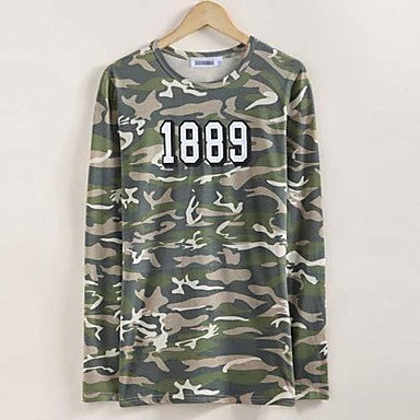 Men's Vintage military camouflage printed Korean cultivating base long sleeved T-shirt