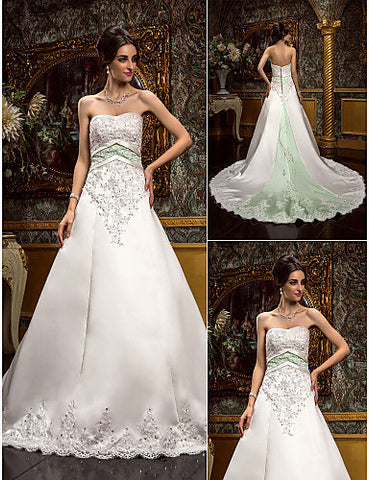 A-line Sweetheart Chapel Train Satin And Lace Wedding Dress (604634)