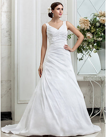 A-line V-neck Chapel Train Taffeta Wedding Dress (631162)