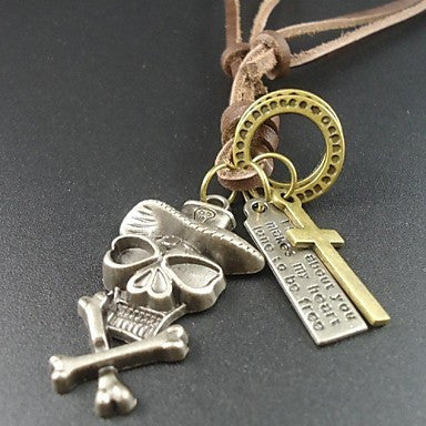 2014 Fashion New Men's Genuine Leather Skull Skeleton Pendant Necklace