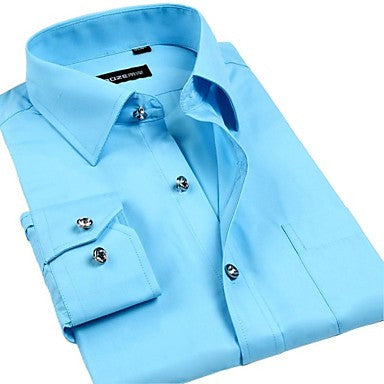 Men's Korean Large Code Gentleman Drill Shirts That Buttoned Shirt