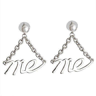 Fashion Grace Platinum Plated Word ME Dangle Earrings