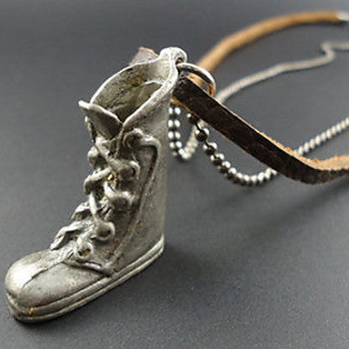 Men's Toe Shoe Leather Pendant Necklace