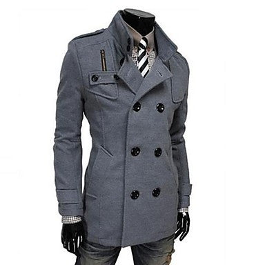 Men's Korean Style Stand Double Breasted Trench Coat