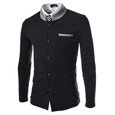 Men's Color Matching Collar Slim Small Suit