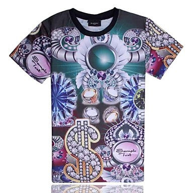 Men's of High Quality 3D Creative with Short Sleeves¡ª¡ªGold and Silver Jewelry Pattern